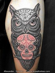 Watercolor sugar skull owl tattoo | page: 1 2 3