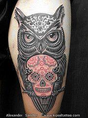 Watercolor sugar skull owl tattoo | page: 1 2 3