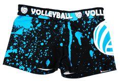 Love This :  Volleyball Spandex Shorts - Neon Blue Splatter