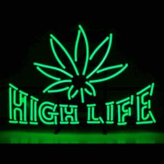 "HIGH LIFE NEON SIGN-NN5HIGHL  26"" wide, 18""high, 4"" deep  Rest assured, our goods are perfectly legal! Let people know about your idea of recreation with the High Life Neon Sign, featuring multi-colored, hand blown tubing supported on a black, finished metal grid. The High Life Neon Sign can be displayed flat on a wall or in a window or alternately be placed upon a shelf."