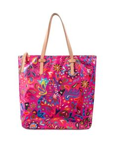 f62a70d6aa Our Market Tote in Pink Swirly ConsuelaCloth™ print is trimmed in natural  leather and features