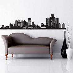 Style and Apply Detroit Skyline Wall Decal Color: Copper