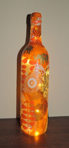 Wine Bottle Light Wine Bottle Lamp by cutelittlecanvases, $45.00