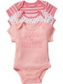 """Born Beautiful"" Bodysuit 3-Packs for Baby"