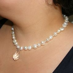 Necklace in Sterling Silver with Baroque Freshwater Pearls & Swarovski® Elements £70.00