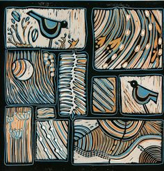 original linocut, Soulmates, 2 birds and abstract contemporary design in turquoise and orange