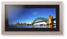 Sydney Harbour Bridge Framed Print, Rustic, Modern, None, Black, Single piece, 10 x 24 inches