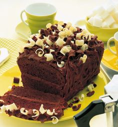 You'll love this wonderful rich #cake covered with a smooth #chocolate icing topped with white and dark chocolate curls.