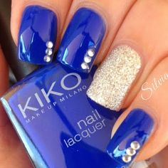 Elegant Royal Blue and Gold Shimmer Nail Art ♢ Rhinestone Accents