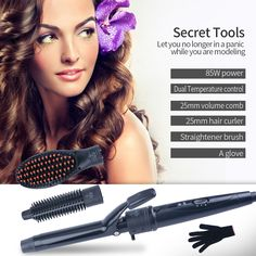 6814d23c0b34 CkeyiN Professional 3-in-1 Interchangeable Tourmaline Ceramic Hair Curler  Volume Comb Hair Straightener