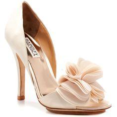 Badgley Mischka Beige Randall Satin Shoes