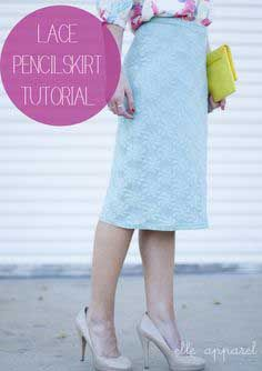 Free Tutorial DIY Mint Lace Skirt I Visit www.sewinlove.com.au/tag/tutorial/ For More DIY Ideas.