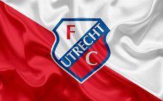 Download wallpapers Utrecht FC, 4k, Dutch football club, Utrecht logo, emblem, Eredivisie, Dutch football championship, Utrecht, Netherlands, silk texture