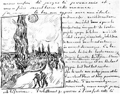 Road with Men Walking, Carriage, Cypress, Star, and Crescent Moon - Vincent van Gogh . Created in Saint-Rémy in Find a print of this Letter Sketches Vincent Van Gogh, Travel Sketchbook, Artist Sketchbook, Dutch Artists, Famous Artists, Moleskine, Van Gogh Arte, Van Gogh Drawings, Art Van