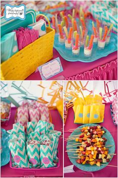 Chevron Print Summer 1st Birthday Party - Kara's Party Ideas - The Place for All Things Party so cute!! Summer Birthday, 1st Birthday Girls, Birthday Fun, 2nd Birthday Parties, 1st Birthdays, Birthday Ideas, Chevron Birthday, Childrens Party, Veggie Cups