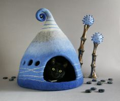 Cat cave, Cat bed, Cat house, Blue, Grey, Pet house, Felt cat cave, Natural wool, Eco friendly, Fantasy cat cave