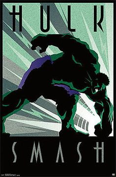 Marvel Comics Art Deco Series THE INCREDIBLE HULK SMASH Official Wall Poster