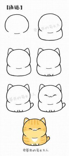 Cute kitty Doodles Kawaii, Cute Doodles, Doodle Drawings, Drawing Sketches, Drawing Tips, Drawing Ideas, Pencil Drawings, Drawing Art, Sketching