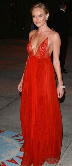 Kate Bosworth red deep V tank gown