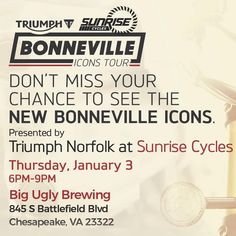 Come Out To Biguglybrewing January 3rd From 6 9 And Check Out The All New Bonneville Line Up From Bonneville Cycle Coming Out