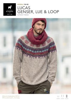 Ravelry: Lucas genser, lue og loop pattern by Iselin Hafseld Mens Knitted Scarf, Knit Hat For Men, Hand Knitted Sweaters, Sweater Knitting Patterns, Hats For Men, Knitting Socks, Knitted Hats, Crochet Men, Knit Fashion