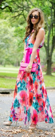 Floral Maxi Pleated Inspiration Dress by For The Love Of Fancy