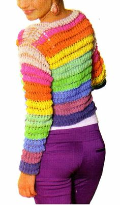 tejidos artesanales en crochet: saco multicolor tejido en crochet (talle medium)