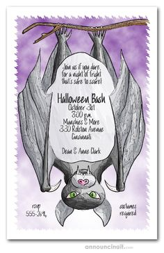An upside down bat waiting for the unsuspecting guests to arrive, perfect for kids birthday Halloween party invitations, Halloween costume party invitations, just change the wording. See our entire collection at Announcingit.com