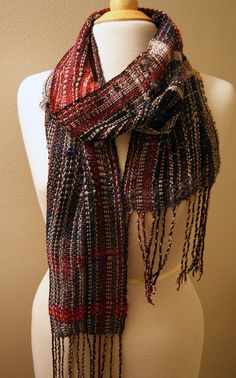 Handwoven Saori Scarf  Black Burgundy and by CorkscrewsAndCables, $70.00