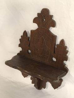 Antique Late 19th C Eastlake Victorian Carved Wood Clock Display Wall Shelf