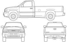 CAR blueprints - 2007 GMC Sierra Pick-up blueprint