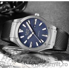 Ceas barbatesc sport marca Lige cu limbi fosforescente Omega Watch, Watches, Sports, Silver, Blue, Accessories, Hs Sports, Wristwatches, Clocks
