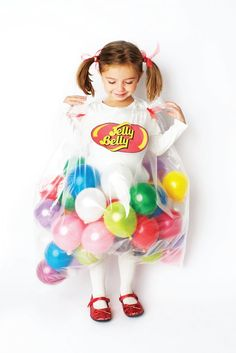 Jelly Belly DIY Halloween costume with balloons for kids!  #Halloween #Costumes #HalloweenCostumesForFamily Sherman Financial Group