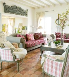 pretty pinks and greens in cottage living room