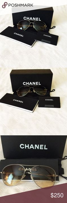 🍾 Authentic Chanel Aviator Sunglasses Classic and Chic Chanel Aviator Sunglasses are always stylish.  They feature bronze gradient lenses, Bronze/Gold Matte Color, CC on lenses, 'Chanel ' written on sides. Includes: sunglasses, Chanel authenticity card, Chanel manual, Chanel carrying pouch, Chanel Box. ❌No trades, ❌no modeling glasses.❌please serious Inquires Only thank you CHANEL Accessories Sunglasses