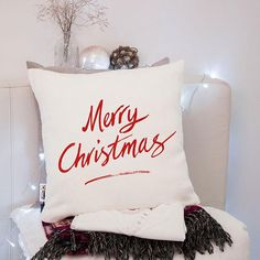 Merry Xmas decor for home Throw pillow Christmas lumbar pillow Gift idea for husband Seasonal pillow Accent pillow Merry Christmas pillows One pillowcase or pillowcase + insert (your choice)  Pillow size is 16 x 16 inches (40 x 40 cm)  Thoughtful Christmas gift idea for your loved