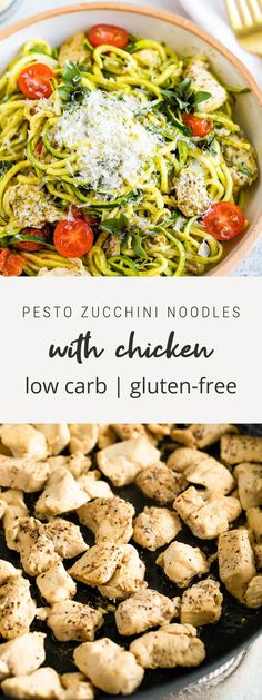 This quick weeknight recipe pairs zucchini noodles with chicken, tomatoes and pesto. It's a delicious and healthy meal the whole family will enjoy. #zucchini #zucchininoodles #chicken #pesto #eatingbirdfood Pesto Zucchini Noodles, Pesto Pasta, Chicken Chunks, Chicken Eating, Healthy Weeknight Meals, Spiralizer Recipes, Healthy Dessert Recipes, Desserts, No Calorie Foods