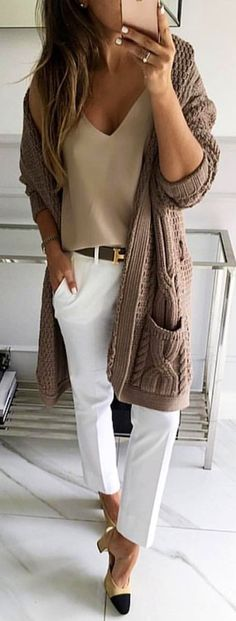 #winter #outfits  brown cardigan and white pants