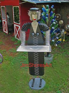 No permission given to re-post this photo on any other website Made from an ironing board and other found objects. Garden Whimsy, Garden Deco, Garden Art, Recycled Garden, Recycled Art, Repurposed, Garden Crafts, Garden Projects, Diy Projects