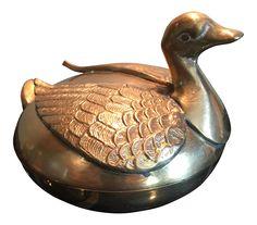 Mid-Century Brass Lidded Swan Box