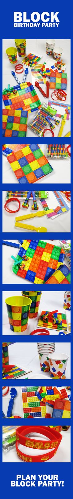 Lego party ideas for Lego Birthday Parties! Our block party birthday supplies and Lego decorations  make it easy to assemble a memorable party that all your party guests will enjoy. Featuring tableware, favors, balloons, & more! Plus, there's a few Lego themed party supplies available. Start planning now…