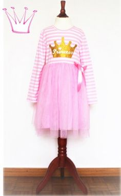 Prinzessin Kinder-Kleid mit Tutu. Online-Shop Schweiz. Rosa gestreifter Rock mit Tutu und Glitzer-Aufdruck für Kinder. Oberteil 100% Baumwolle. Harajuku, Rock, Style, Fashion, Skirt, Pink Streaks, Striped Skirts, Princesses, Cotton