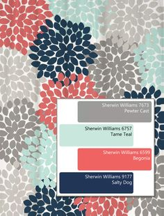 Dahlia Floral Shower Curtain in Navy, Coral, Aqua, Gray color scheme