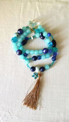 Long blue necklace/summer/boho/ Free combined by KaterinakiJewelry Summer Necklace, Blue Necklace, Tassel Necklace, Trending Outfits, Boho, Unique Jewelry, Handmade Gifts, Free, Etsy