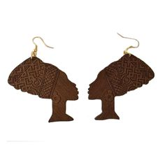 Queen Nefertiti Earrings - wooden (3 colors). ======================= Shop our entire collection at www.ethnicearring.com ======================= You will love our African American inspired Afrocentric accessories that you can wear with your Natural Hair Afro, Twist-Out, Braids, TWA or African Wrap. Our collection of Ethnic Jewelry & Natural Hair Earrings will help you to show off your African heritage and pride. Show the world you are a queen through your fashion.