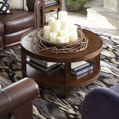 Round Coffee Table Medium Walnut Finish
