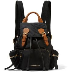 Burberry Small leather-trimmed gabardine backpack (57,605 PHP) ❤ liked on Polyvore featuring bags, backpacks, black, military backpacks, quilted backpack, burberry bags, burberry rucksack and military daypack