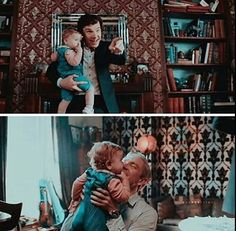 John Watson and Sherlock with baby Rosie