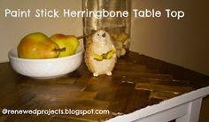 Reduce, Reuse, Renewed: Paint Stick Herringbone Table Top