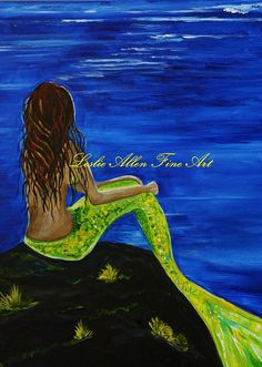 Mermaid Mermaids Siren Sirens Art Print Giclee Mermaid Tail Ocean Seascape Fantasy Art Decor Breathtaking Mermaid Leslie Allen Fine Art via Etsy